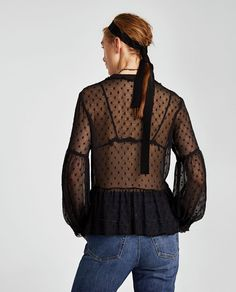 Image 4 of DOTTED MESH BLOUSE WITH LACE from Zara
