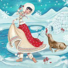 Mooi geïllustreerde kerstkaart door Cartita Design. - www.kaartje2go.nl