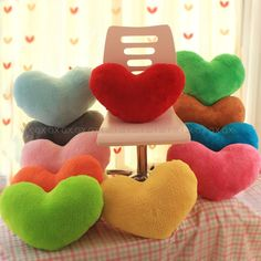 Cheap toy carrot, Buy Quality gift box wine bottle directly from China gift boxes for bracelets Suppliers: Colorful Love Heart Plush Toys Wedding Gift Stuffed Pillow Soft Cushion Cute Cushions, Cushions On Sofa, Throw Pillows, Heart Cushion, Heart Pillow, Love Shape, Shape Crafts, Girlfriend Birthday, Plush Animals