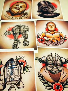 Star Wars Traditional Tattoo Flash Set. $35.00, via Etsy.