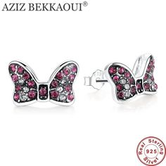 020dbd260 100% 925 Sterling Silver Stud Earrings Red Crystal Minnie Shape Earrings  for Women Lovely Cute