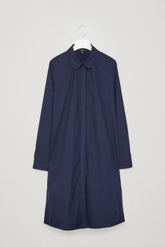 COS image 2 of Cotton Shirt Dress with Gathers  in Navy