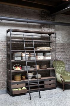 Vintage steel bookcase / Shelving unit with ladder Industrial Living, Industrial Shelving, Industrial Furniture, Furniture Styles, Home Furniture, Muebles Living, Home And Living, Interior Inspiration, Decoration