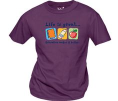 """A good education is a gift that keeps on giving. Promote the value of learning with classic """"Life is great... Education makes it better"""" shirts featuring a notebook, pencil, and apple. Available on super soft ring-spun cotton in #Purple #Green and #Orange  #Education #Teachers #Tshirts #School"""