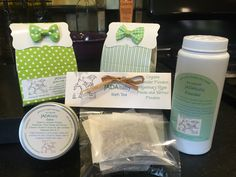 Our line of baby products : Goats milk soap, baby powder, salve great for diaper rash or other skin issues, bath teas