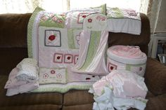 The crib bedding I found at Once Upon a Child for Amberlee's nursery.