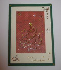 Weihnachtskarte -  grün rot mit Tannenbaum in gold