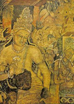 This is the Mural of the Bodhissatva with lotus in hand in the Ajanta Caves in Maharashtra, India