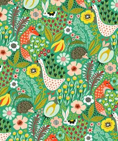 orange, you& in luck !: hedgehogs and foxes vs geese and rabbits. Surface Pattern Design, Pattern Art, Arte Popular, Motif Floral, Pretty Patterns, Pattern Illustration, Textile Patterns, Textiles, Art Plastique