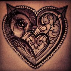 #Love #Heart #Owl #Tattoo
