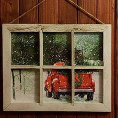 Red  Christmas Tree Truck Window Sign Small