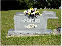 Dale Earnhardt, Rest in paradise. Greatest driver to ever get behind the wheel! NASCAR misses you! Nascar Sprint Cup, Nascar Racing, Nascar Cars, Racing News, Dale Earnhardt Crash, Famous Tombstones, The Intimidator, Cemetery Headstones, Famous Graves