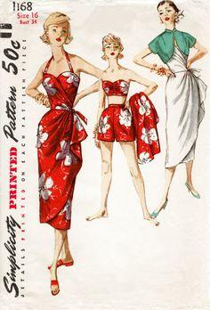 1950s 1960s Simplicity 1168 vintage sarong dress sewing pattern bra shorts & jacket pin up beachwear bust 34 b34 repro