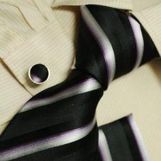 Black stripes designer for men white wedding tie Italian style silk tie cufflinks hanky set H5146