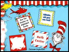 The Seuss-like themed classroom provides a variety of products that coordinate to help you create a perfectly matched classroom.  Seuss-like Center or Table Signs complement the rest of the Seuss-like collection in red, yellow, blue and green. $