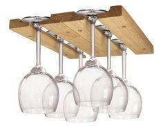 Wood Wine Glass Rack Under Cabinet Stemware Hanger Storage Bar Organizer Kitchen #FoxRun