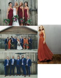 32 Bridal Party Outfit Ideas That Look Amazing 32 Bridal Party Outfit Ideas That Look Amazing,Wedding Cranberry bridesmaid dresses and blue groomsmen suits Groomsmen Colours, Blue Groomsmen Suits, Bridesmaids And Groomsmen, Groomsmen Outfits, Groomsman Attire, Winter Wedding Bridesmaids, Navy Blue Bridesmaids, Groom Suits, Groom Attire