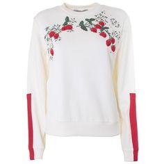 SPORTMAX Urna strawberry cotton sweatshirt (4 575 UAH) ❤ liked on Polyvore featuring tops, hoodies, sweatshirts, white, cotton sweatshirt, white cotton sweatshirt, embroidered cotton top, white cotton tops and white sweatshirt