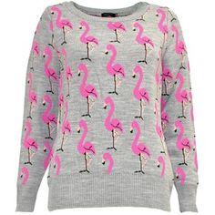 Laura Flamingo Jumper in Grey