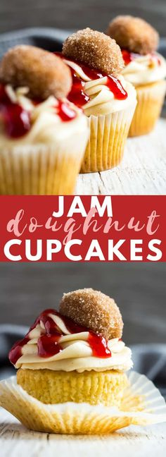Jam Doughnut Cupcakes - Deliciously moist and fluffy vanilla-infused cupcakes filled with strawberry jam, and topped with a cinnamon-spiced buttercream frosting, and homemade doughnuts! Donut Cupcakes, Donuts, Cupcake Cakes, Doughnut, Biscuit Cupcakes, Breakfast Cupcakes, Filled Cupcakes, Chocolate Cupcakes, Cupcake Flavors