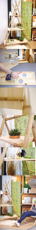 Fabriquer ses meubles permet de créer des objets parfaitement adapter à ses goûts et ses besoins, aujourd'hui avec ce tutoriel DIY deco, fabriquer une étagère échelle à partir d'un porte-serviette en bambou pour accueillir livres, plante verte ou aromatique et porte-clés
