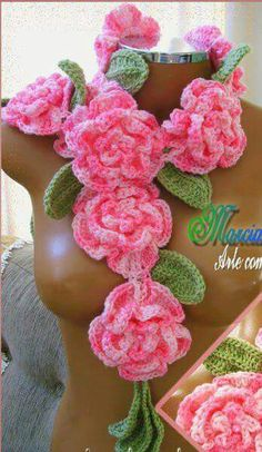 Bufanda flores,crochet.