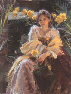 ⊰ Posing with Posies ⊱ paintings of women and flowers - YELLOW ROSE, BY DANIEL F. GERHARTZ