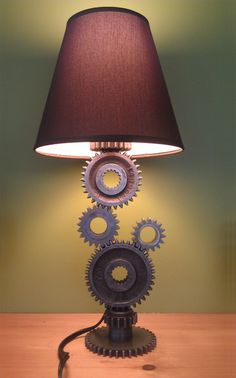 Moto Gear Lamp - breathe new life into old engine parts #moto #upcycled #handmade #motorcycle