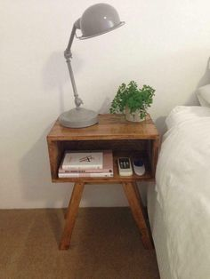 Pallet #Nightstand with Storage - 125 Awesome DIY Pallet Furniture Ideas | 101 Pallet Ideas - Part 11