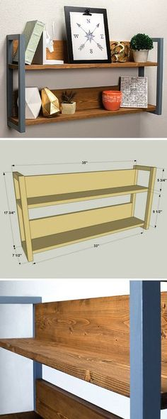 Create an attractive display area on any wall with this small double shelf unit that holds photos and other favorite items. It's super easy to build, and can easily be customized by changing up the stain or finish that you use. Get the free DIY plans at Small Woodworking Projects, Woodworking In An Apartment, Woodworking Bed, Youtube Woodworking, Woodworking Videos, Furniture Plans, Furniture Making, Wood Furniture, Wood Shelves