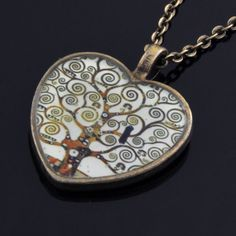 The Tree of Life Gustav Klimt  pendant on antique gold by PikLus, $15.00