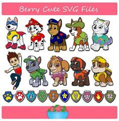 Paw Patrol Marshall, Chase, Ryder, Rocky, Skye, Zumma, Rubble, Everest, NEW pup TRACKER and APOLLO & badges Svg File