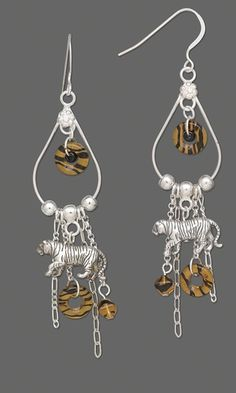 Earrings with Sterling Silver Bengal Tiger Beads, Czech Pressed Glass Beads and Sterling Silver Chain
