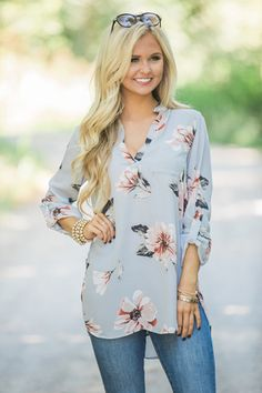 Saturday Brunch Date Floral Blouse Grey