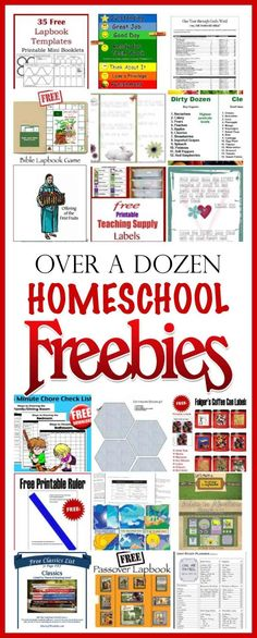 links to over a dozen homeschool FREEBIES: Worksheets, Lapbooks, Printables, Labels and more to organize your homeschool.	 #HeartofWisdom