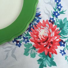 Vintage Luncheon Tablecloth Fields of Vivid Flowers by putnamandspeedwell