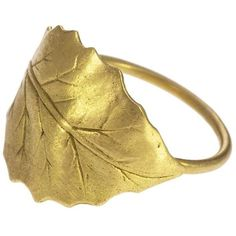 L Frank Holly Leaf Ring ($250) found on Polyvore featuring women's fashion, jewelry, rings, yellow gold rings, leaf design rings, gold rings, gold leaf jewelry and leaves ring