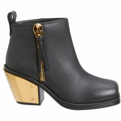 Giuseppe Zanotti Gold Plated Heel Ankle Boot at Barneys.com Gold heel boots