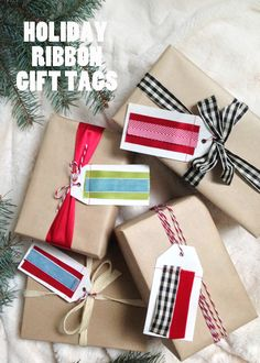 DIY Holiday Christmas ribbon gift tags / The Sweet Escape - make these ahead! Diy Holiday Gifts, Holiday Crafts, Christmas Ribbon, Christmas Holidays, Candy Corn Crafts, Hanukkah Crafts, Fall Crafts For Kids, Tapas, Paper Crafts