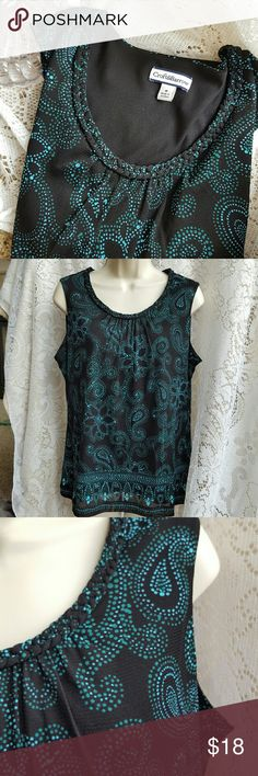 Croft&Barrow sleeveless blouse Croft&Barrow size Medium sleeveless blouse,  2 layers...outer layer is 100% polyester and inner shell is 100% nylon solid black (see picture #5), beautiful braided detail around the scoop neck,  pleating in front from neck,  excellent like new condition,  smoke free home. croft & barrow Tops Blouses
