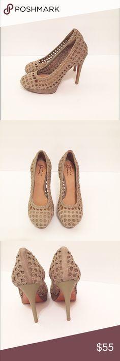 "Badgley Mischka by Mark & James Heels Badgley Mischka by Mark & James Suede Caged Roped Heels. Size: 8. Mocha Color. Excellent condition. Suede upper and leather sole. Heel height approx, 4.5"". Badgley Mischka Shoes Heels"