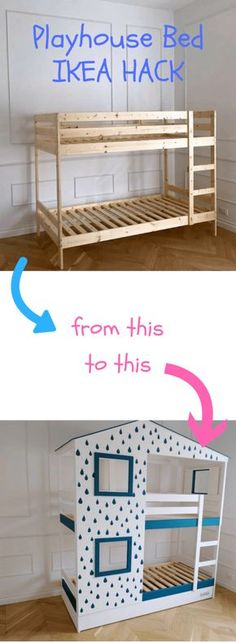 I hacked an IKEA kids' bed into playhouse bed for my two children. The bunk bed I started with the IKEA MYDAL. As a finishing touch, we signed off our playhouse bunk bed as Lacasadi Mommo. Ikea Nursery, Ikea Bedroom, Nursery Rugs, Nursery Ideas, Ikea Kids Bedroom, Mydal Ikea, Playhouse Bed, Ideas Dormitorios, Kids Bunk Beds