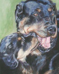 Rottweiler art print CANVAS print of LA Shepard painting 8x10 dog art. $19.99, via Etsy.