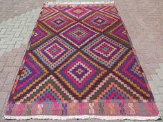 "VINTAGE Handwoven Diamond Design Turkish Kilim Rug, Antique Colorful Kilim Rug, Large Flatwoven Kilim, Area Rug 218 cm x 146 or 86"" x 57"""