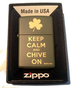 ZIPPO Custom Lighter - Keep Calm and Chive on Laser Engraved Green Matte Finish Rare!: Amazon.ca: generic