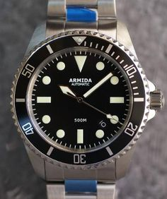 ARMIDA A2 500m Diver Miyota 9015 15 minute track  - 316l stainless steel case  - black dial - All silver hands  - C3 lumed  bezel dot, hour markers and hands  - 42 mm case diameter - 43mm bezel diameter - Lug to lug 51mm - Lug distance 22mm - Height  12.5mm - Sapphire crystal 3mm flat - Anti reflective coating on the inside crystal - 22mm bracelet and rubber strap - Waterproof to 500m/1650feet - Screwed and signed crown 7mm - 1 Year International Warranty