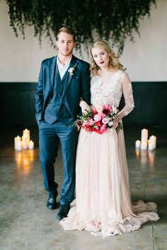elegant and ethereal bride and groom