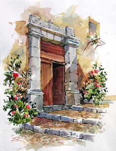 Entrance to the terrace Metal Print by Tony Van Hasselt. All metal prints are professionally printed, packaged, and shipped within 3 - 4 business days and delivered ready-to-hang on your wall. Choose from multiple sizes and mounting options. Watercolor Architecture, Watercolor Landscape, Landscape Art, Landscape Paintings, Watercolor Artwork, Watercolor Sketch, Watercolor Illustration, Painting Inspiration, Art Inspo