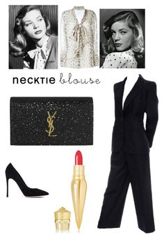 """""""Necktie Blouse - Vintage Hollywood"""" by shistyle ❤ liked on Polyvore featuring Agnona, Yves Saint Laurent, Gianvito Rossi, Christian Louboutin, vintage, LaurenBacall and necktieblouse"""