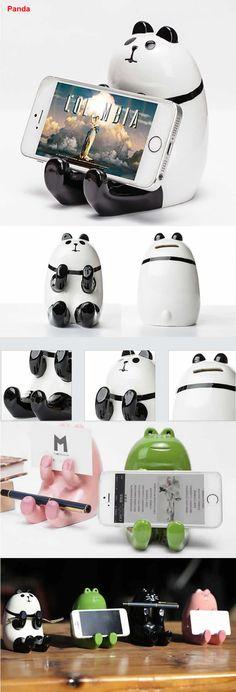 Ceramic Panda pen holder Mobile Display Stand